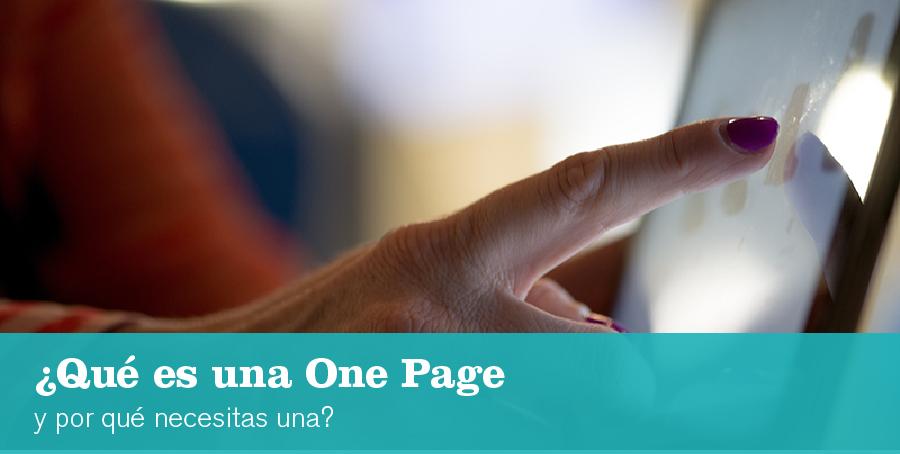 Qué es una one page